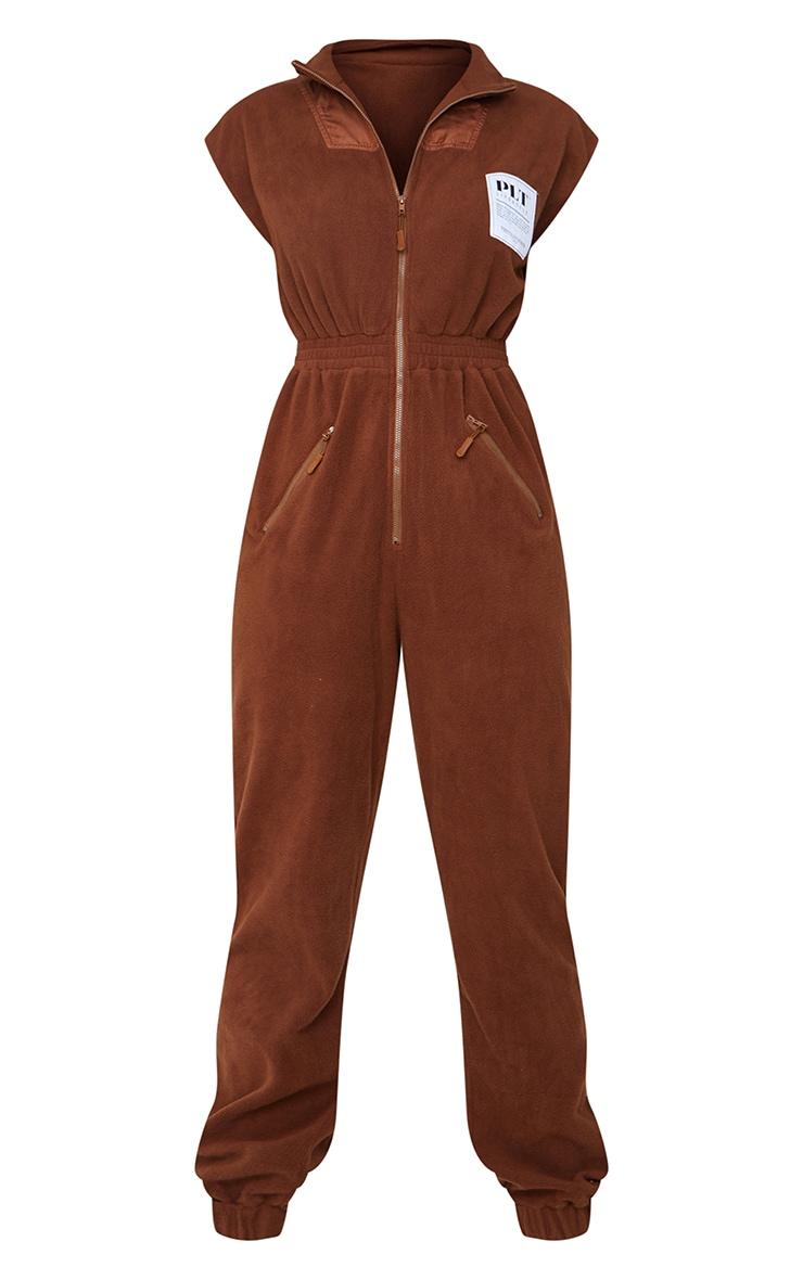 PRETTYLITTLETHING Brown Fleece Zip Up Jumpsuit 5