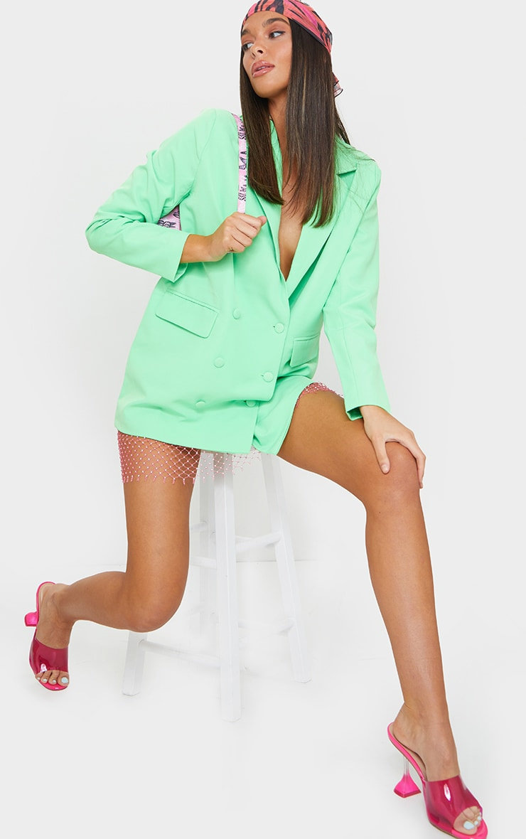 Bright Green Oversized Button-Down Woven Blazer