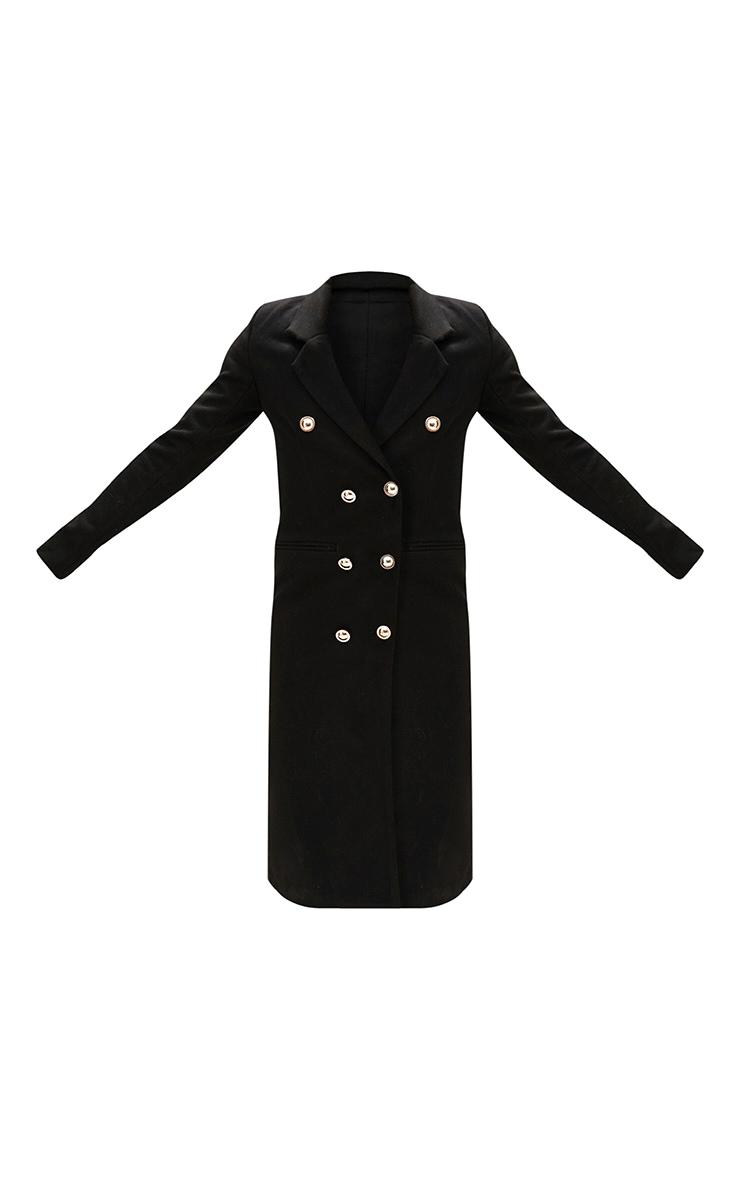 Black Longline Double Breasted Coat 3