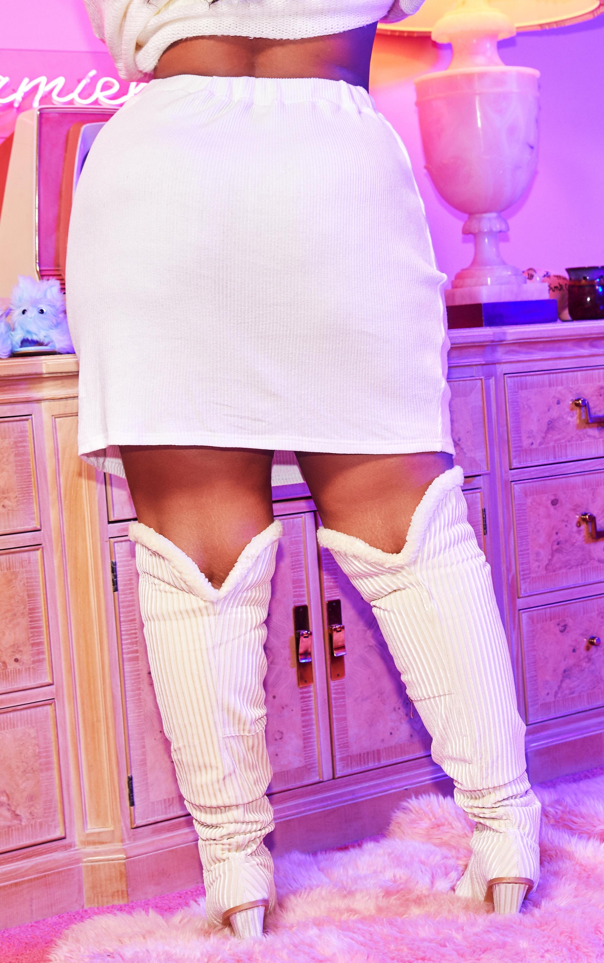 Plus Cream Brushed Rib Tie Waist Skirt 4