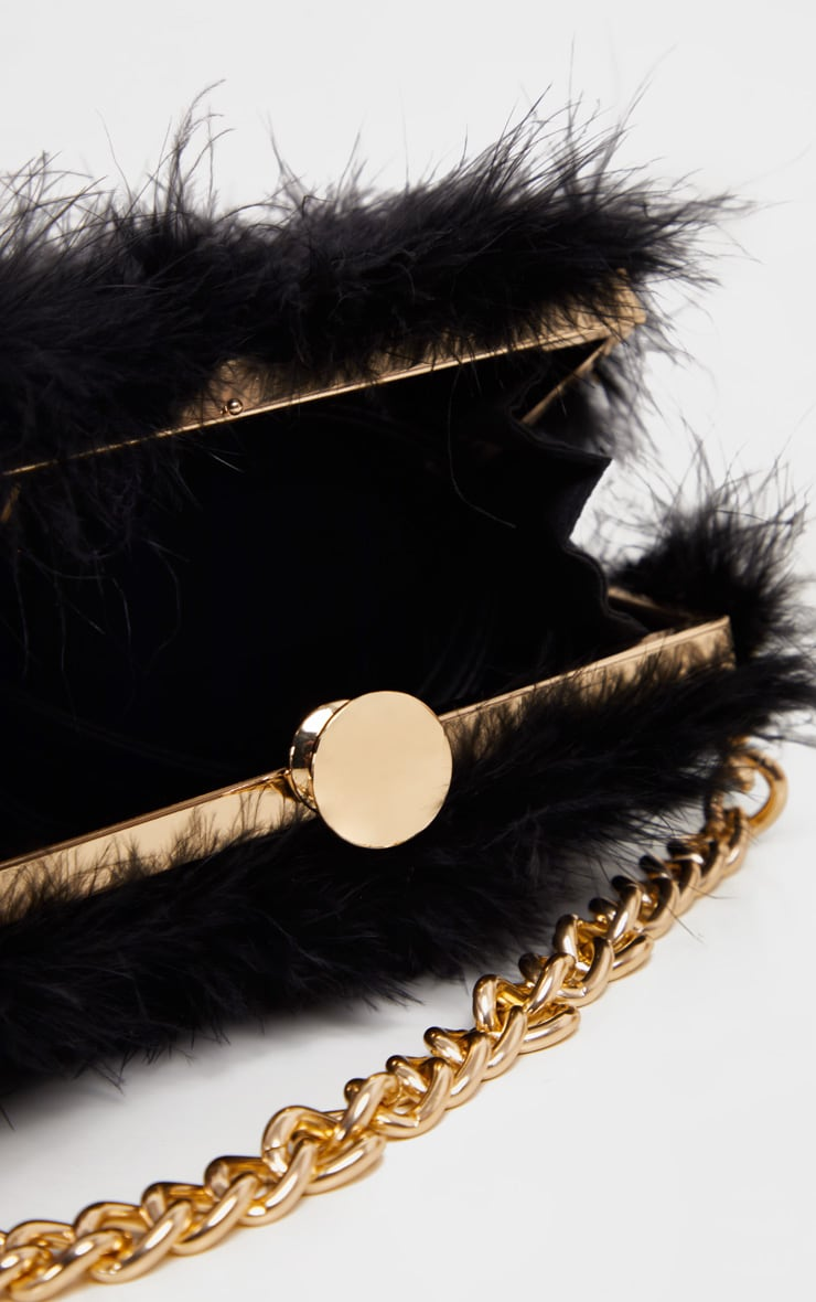 Black Marabou Large Clutch Bag 3