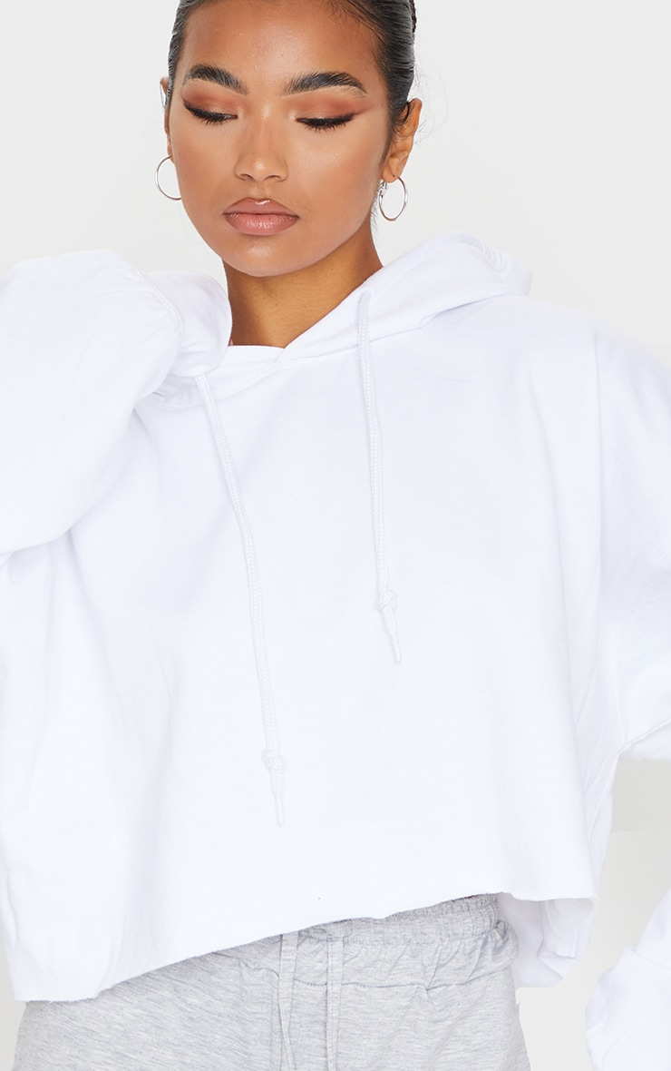 Recycled White Oversized Crop Sweat Hoodie 4