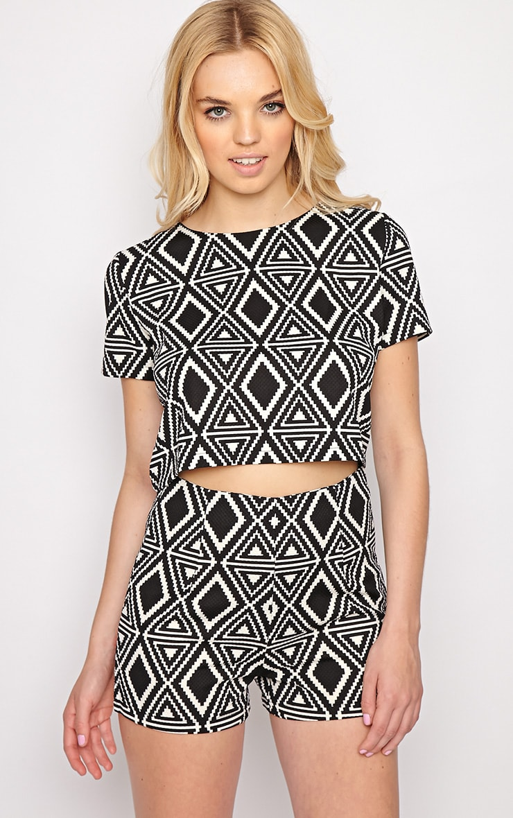 Avery Monochrome Aztec Print Crop Top  5