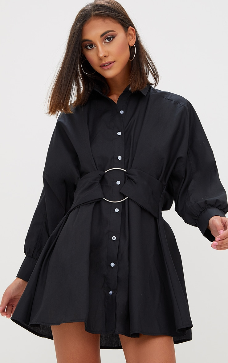 Black Ring Detail Shirt Dress 1