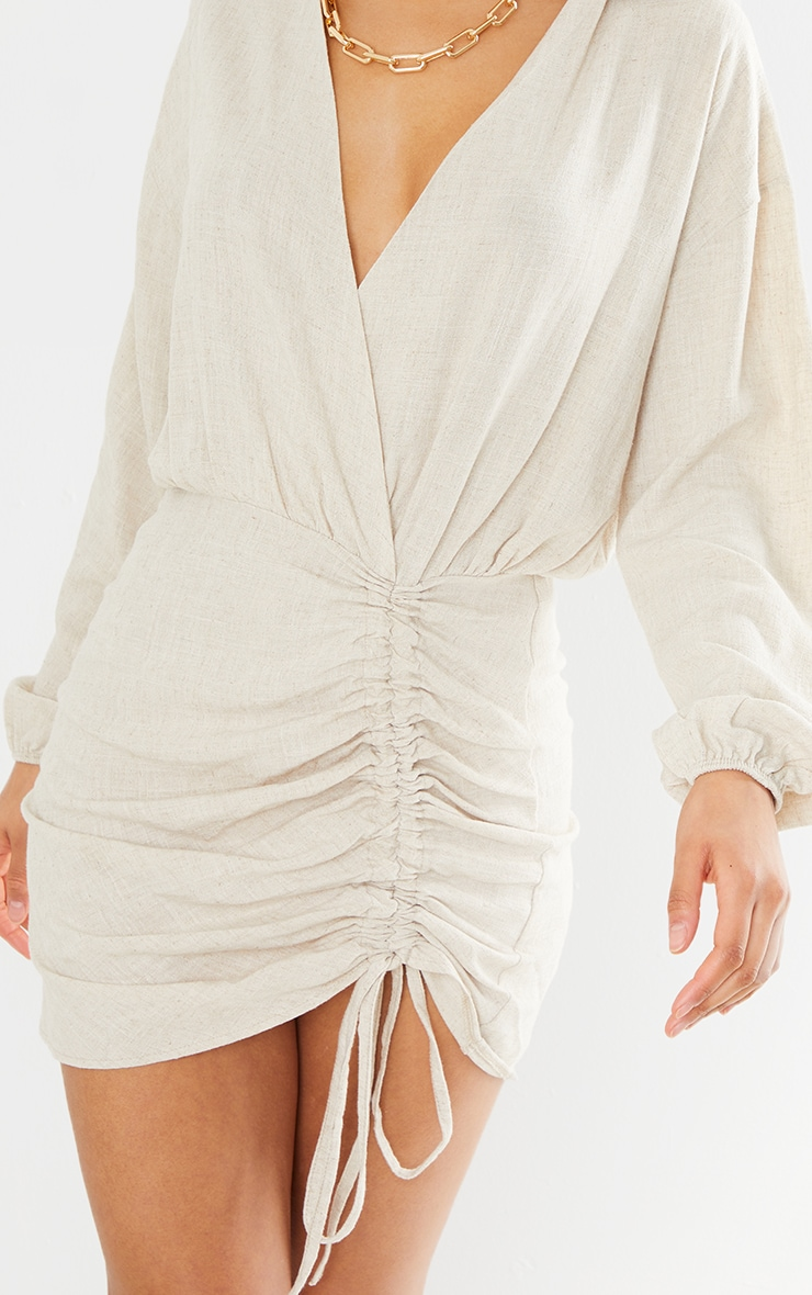Stone Linen Long Sleeve Plunge Ruched Shirt Dress 4