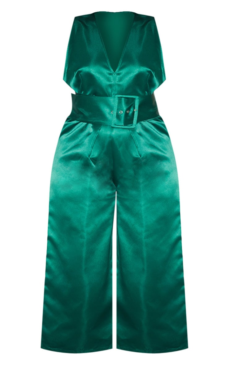 Plus Green Satin Belt Culotte Jumpsuit 5