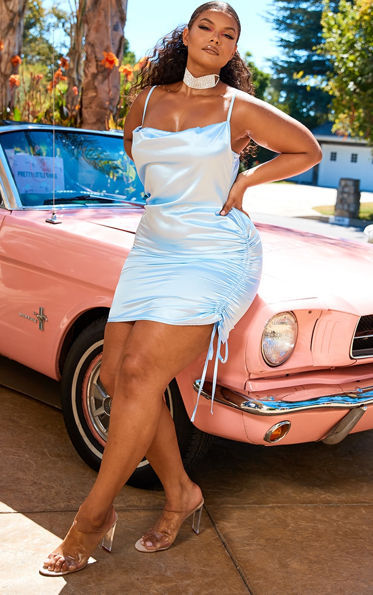 Plus Baby Blue Satin Cowl Ruched Side Bodycon Dress 1