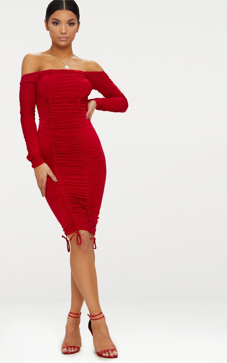 Red Bardot Ruched Slinky Midi Dress