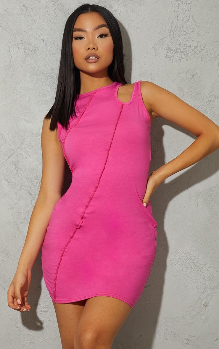 Petite - Robe moulante en coton rose flashy sans manches découpée à coutures apparentes 3