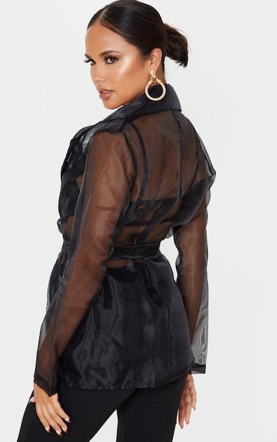 Black Organza Tie Front Blazer