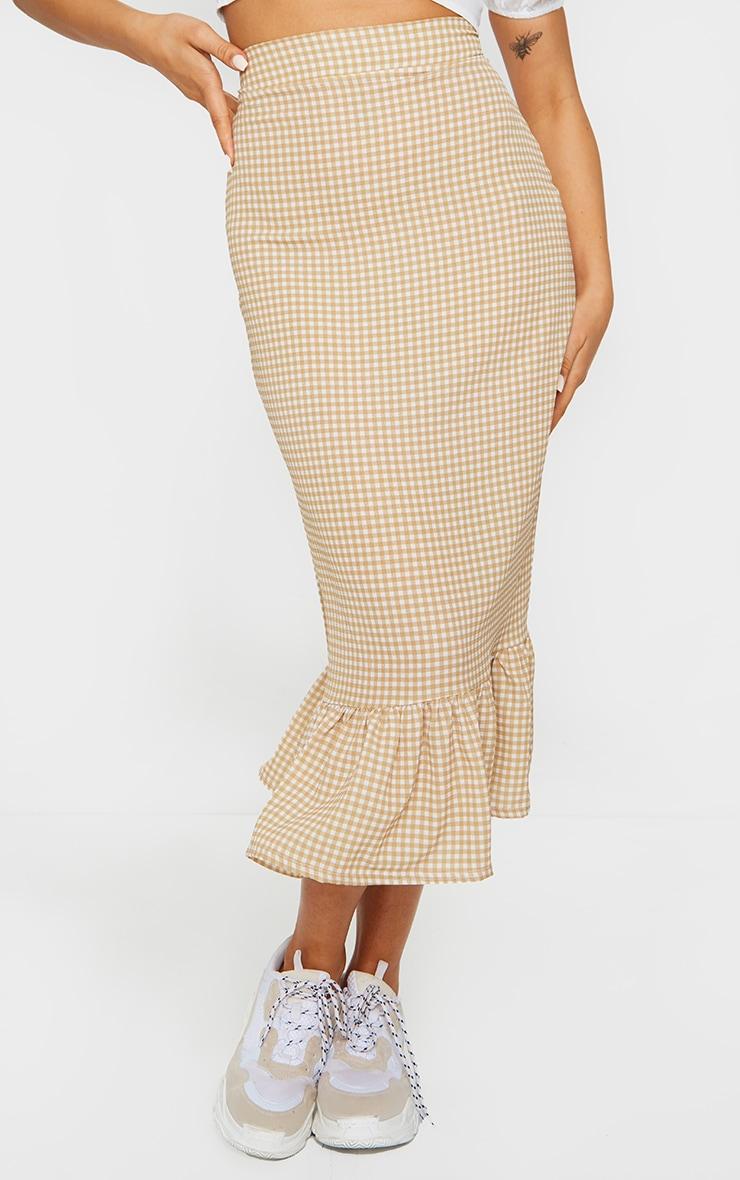 Stone Gingham Frill Hem Midaxi Skirt 2