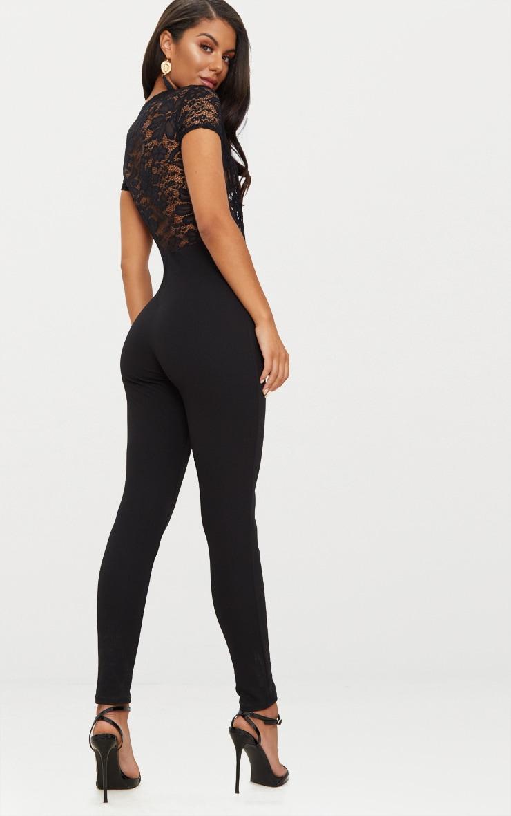 Black Lace Short Sleeve Jumpsuit 2