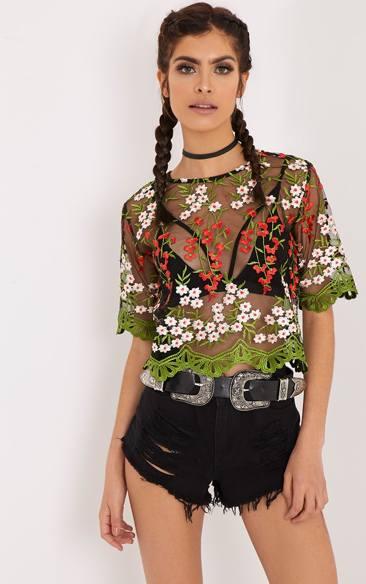 Loren Black Embroidered Top 1