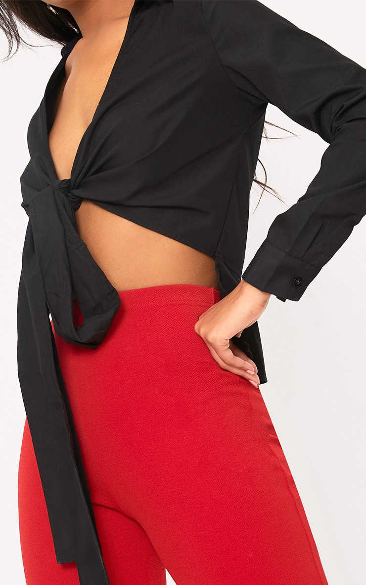 Black Wrap Cotton Shirt 5
