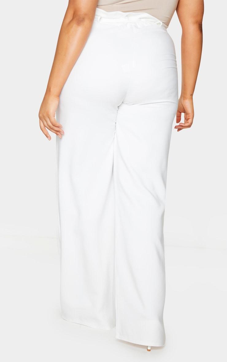 Plus White Tie Waist Wide Leg Trousers 3