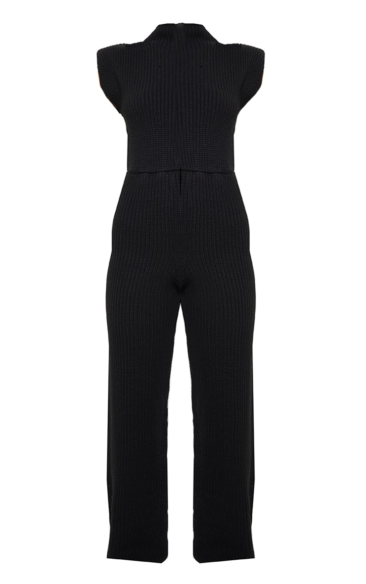 Black Shoulder Pad Knitted Wide Leg Jumpsuit 5