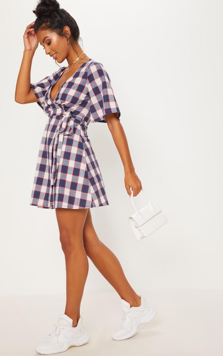 Navy Check Tea Dress 1