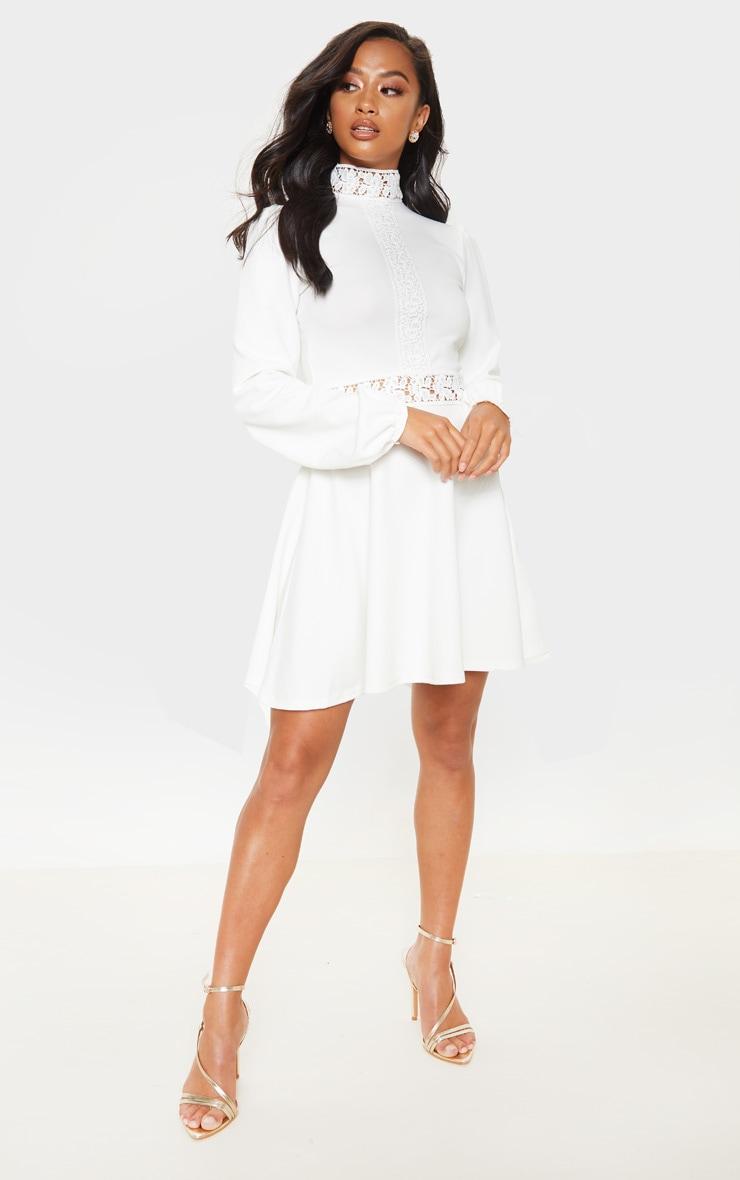 Petite - Robe patineuse blanche à manches longues et détail dentelle 4