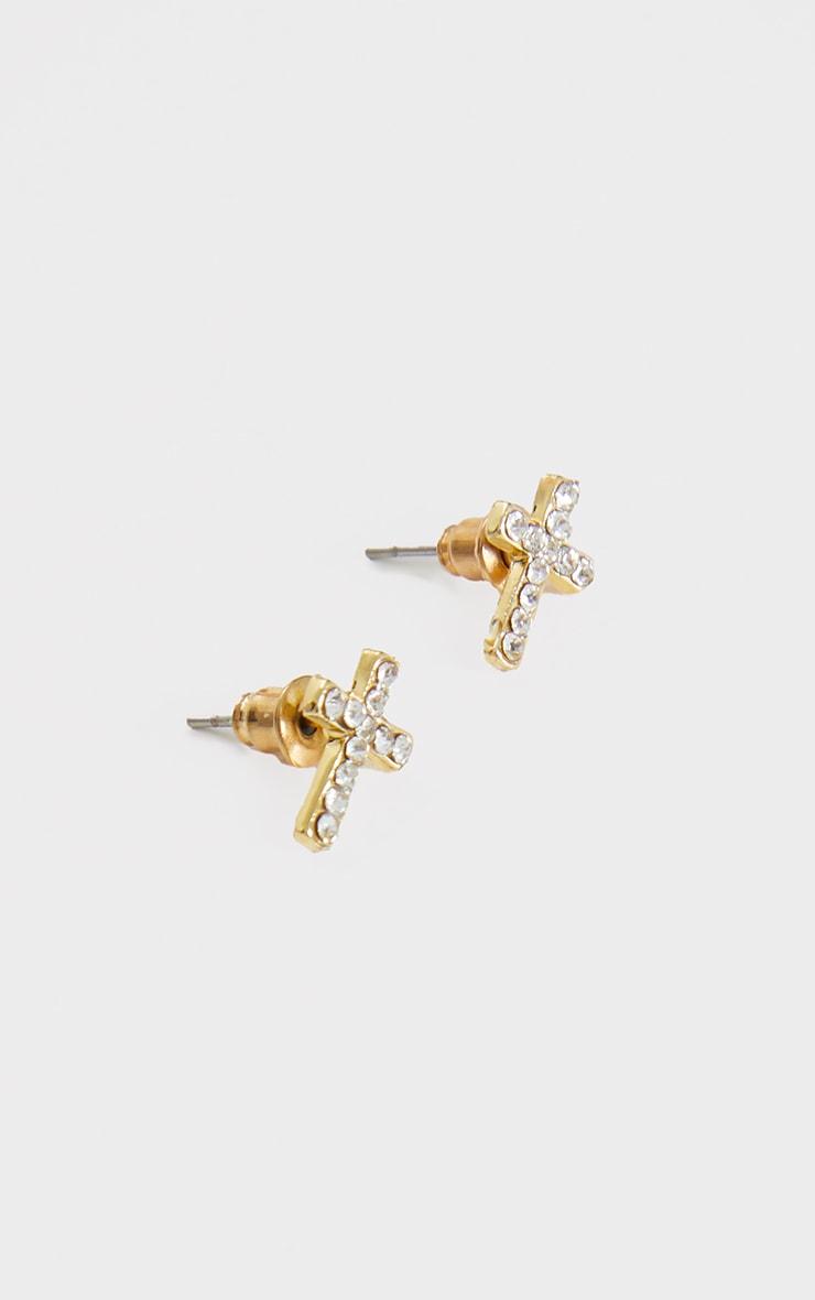Gold Diamante Cross Earrings 2