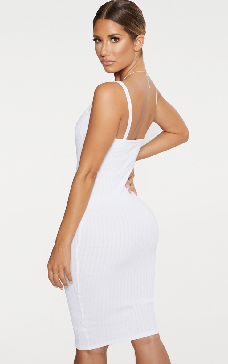White Thick Ribbed Plunge Midi Dress 2