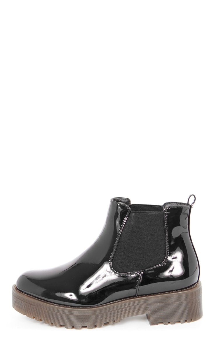 Sabine Black Patent Cleated Sole Chelsea Boot  1