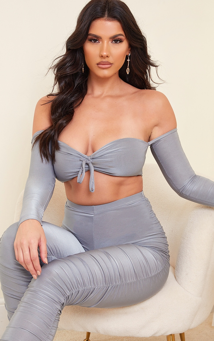 Tall Grey Slinky Bardot Long Sleeve Ruched Cup Crop Top 1