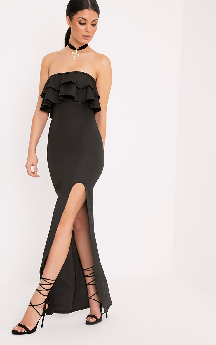 Angelique Black Frill Bandeau Maxi Dress 1