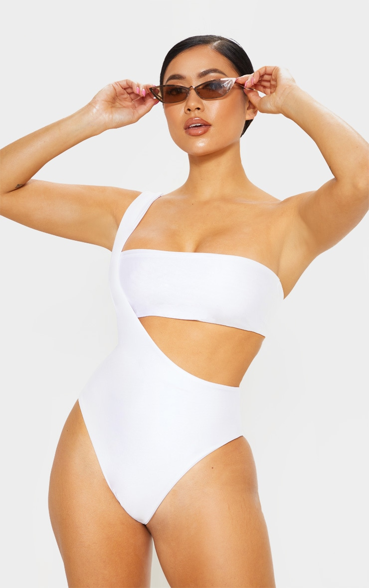 Petite White Asymmetric Swimsuit 1