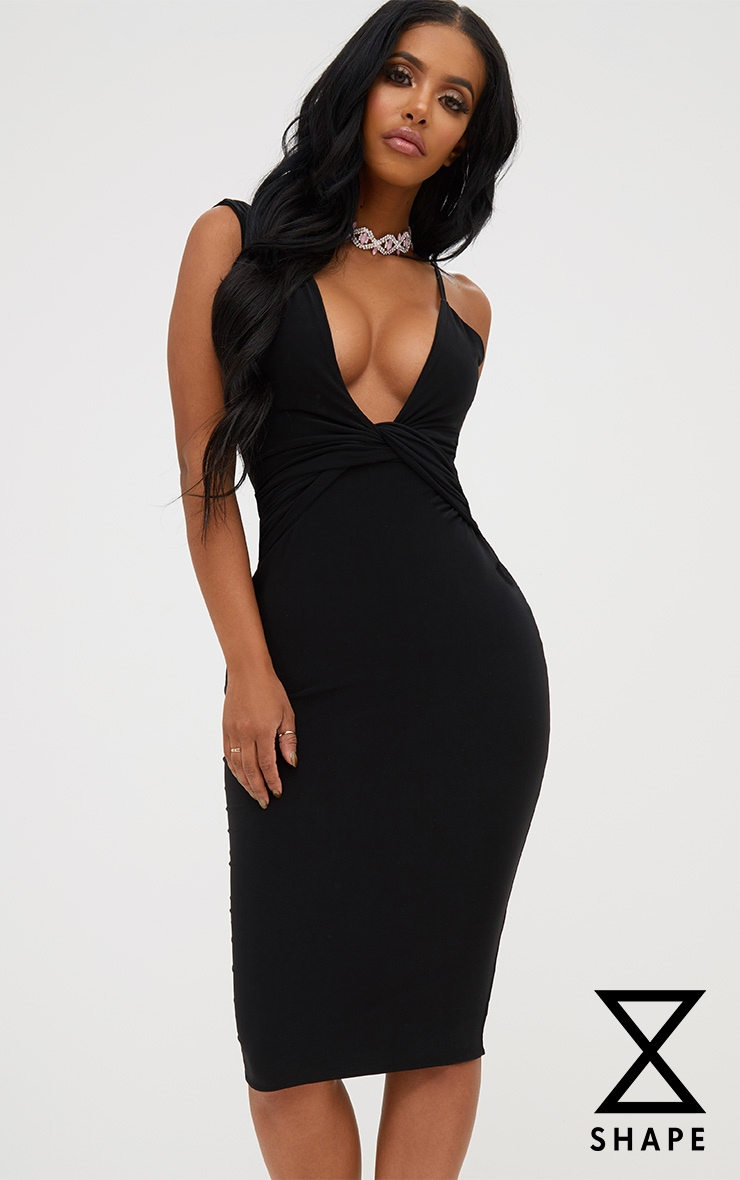 Shape Black Knot Front Plunge Midi Dress 1