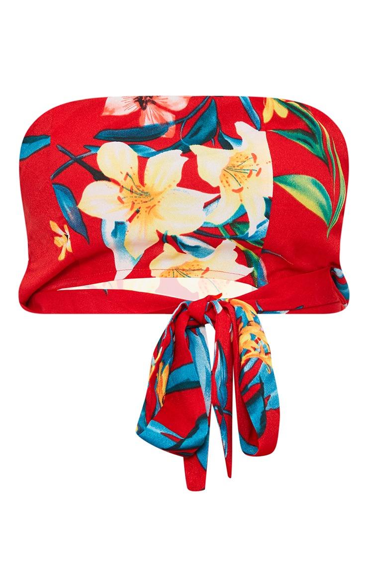 Petite Red Floral Tie Waist Bandeau Crop Top 3