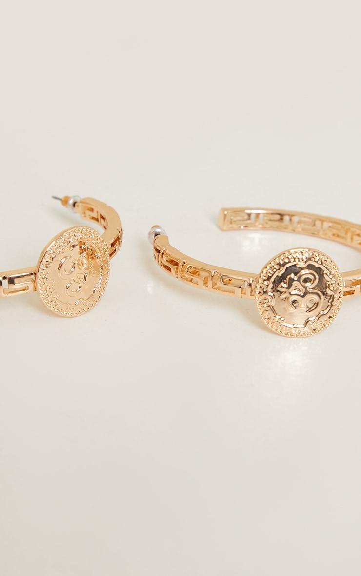 Gold Greek Cut Out Circle Statement Hoop Earrings 3