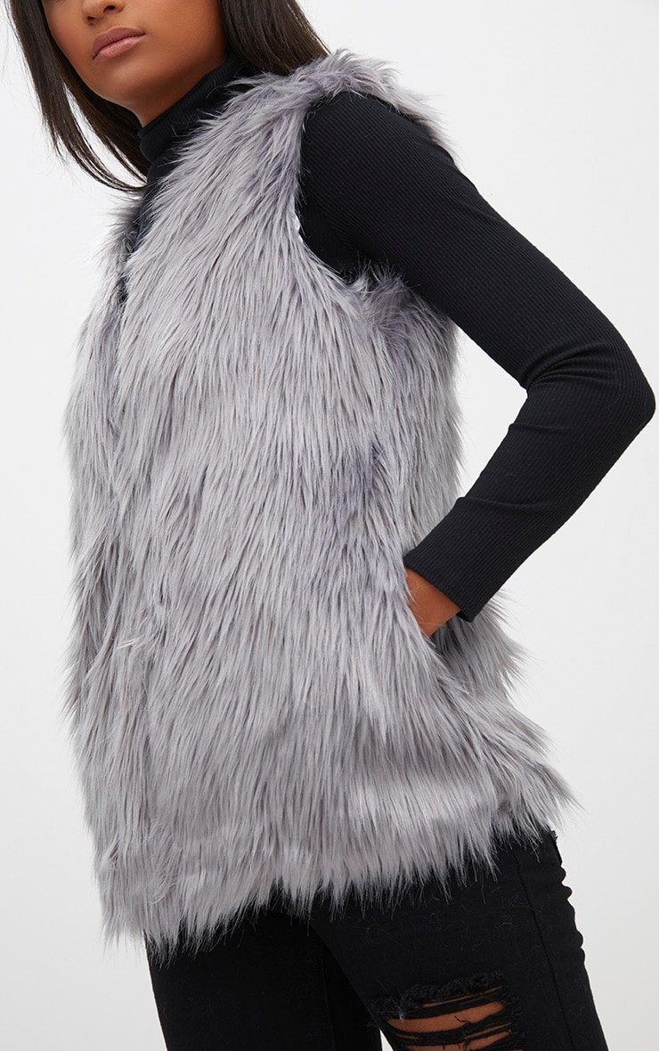 Grey Faux Fur Gilet 5