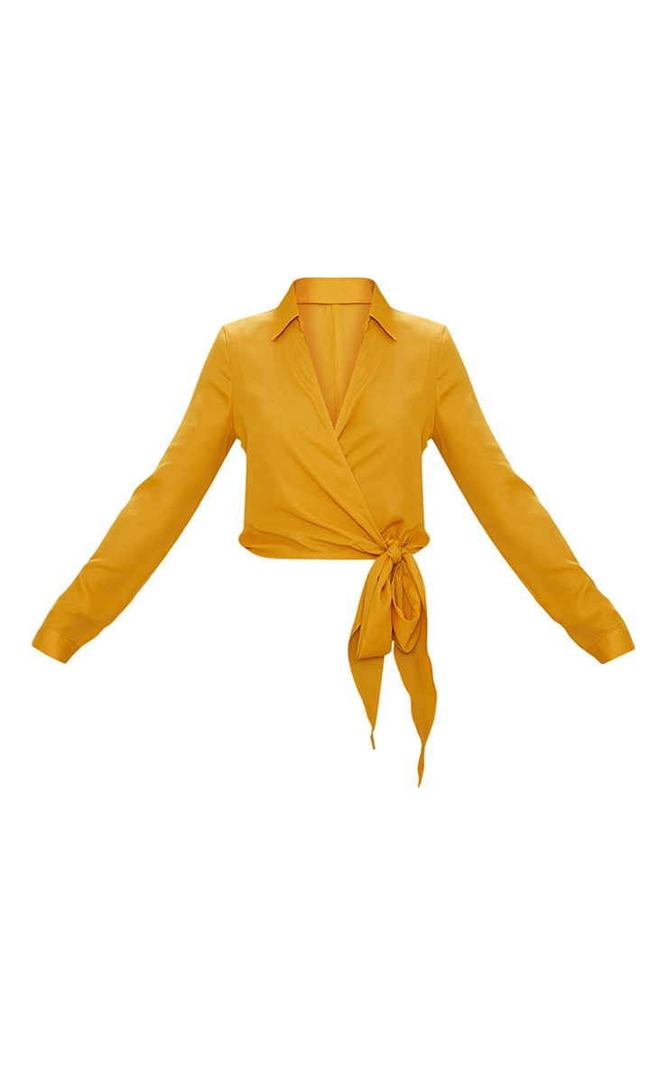 Mustard Avalyn Wrap Front Tie Side Blouse 3