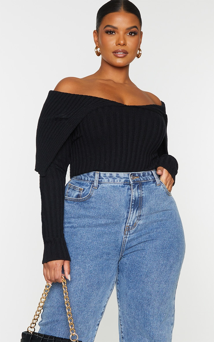 Plus Black Off Shoulder Collar Detail Ribbed Jumper 1
