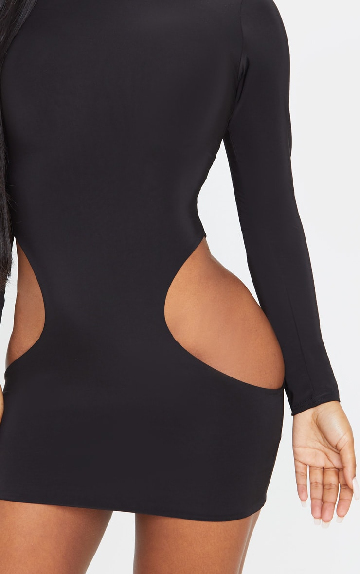 Black High Neck Extreme Cut Out Long Sleeve Bodycon Dress 5