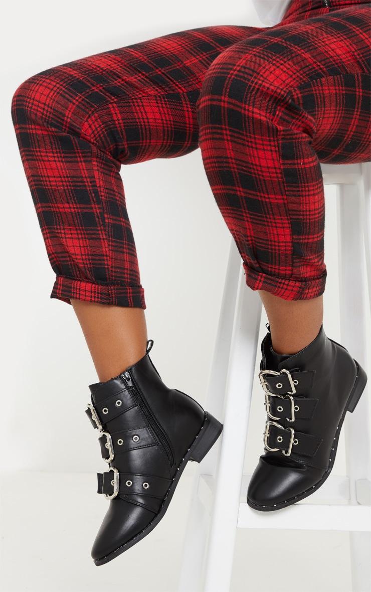 Black Triple Buckle Ankle Boot 1