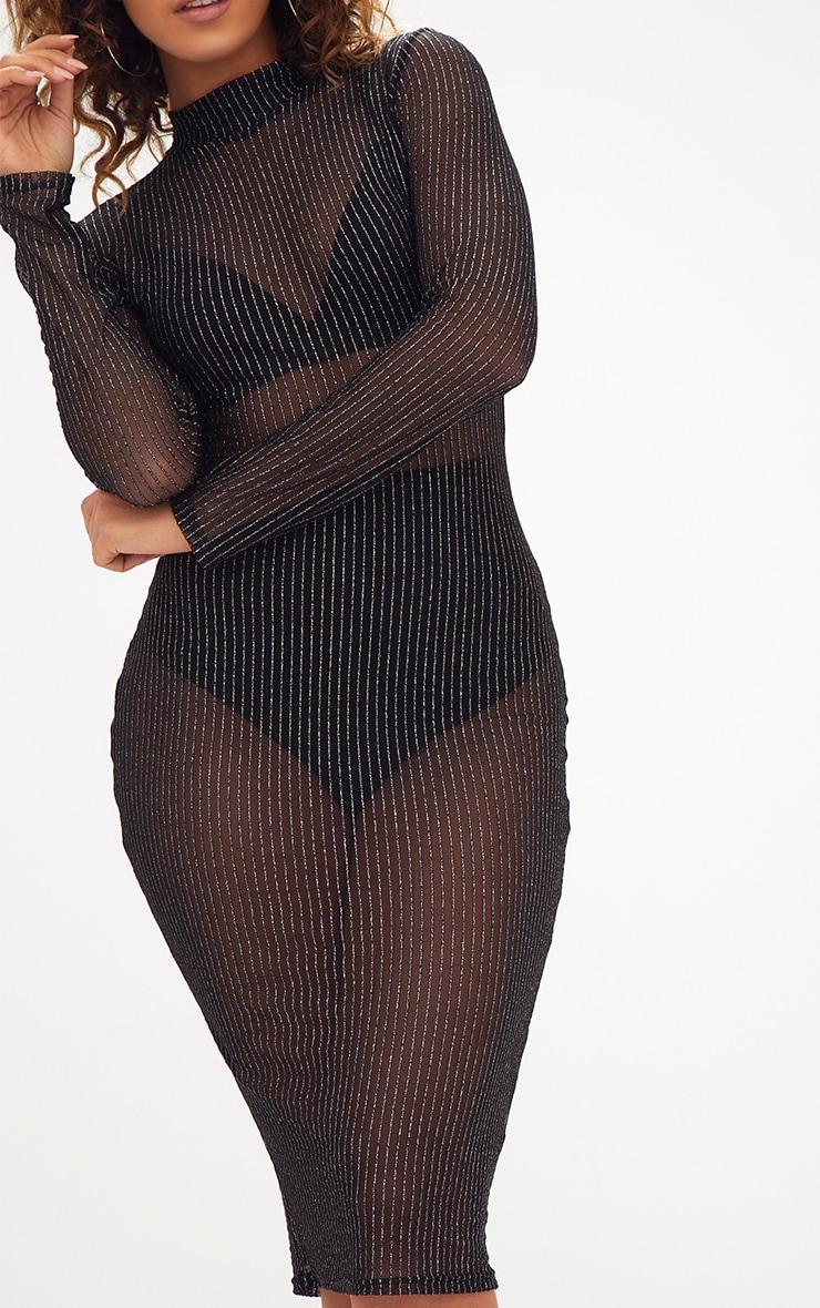 Black High Neck Long Sleeve Glitter Lurex Bodycon Dress 5