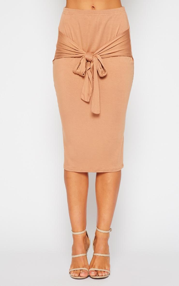 Raemona Camel Tie Midi Skirt 2