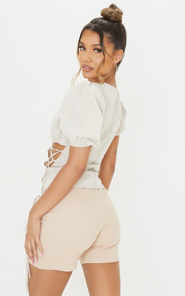 Stone Ruched Bust Woven Short Sleeve Lace Up Long Top 2