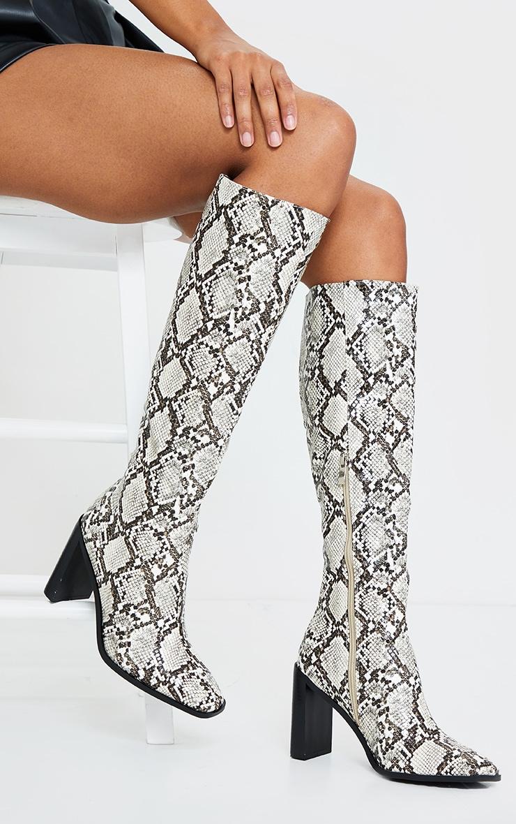 Brown Pu Snake High Flat Block Heel Knee Boots 1