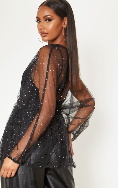 Black Mesh Diamante Ruched Waist Shirt
