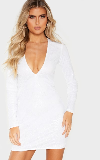 Tall White Deep V Long Sleeved Sequin Dress