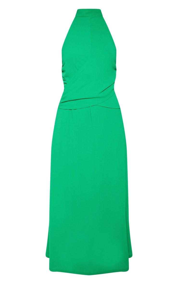 Green Halterneck Wrap Front Maxi Dress 3
