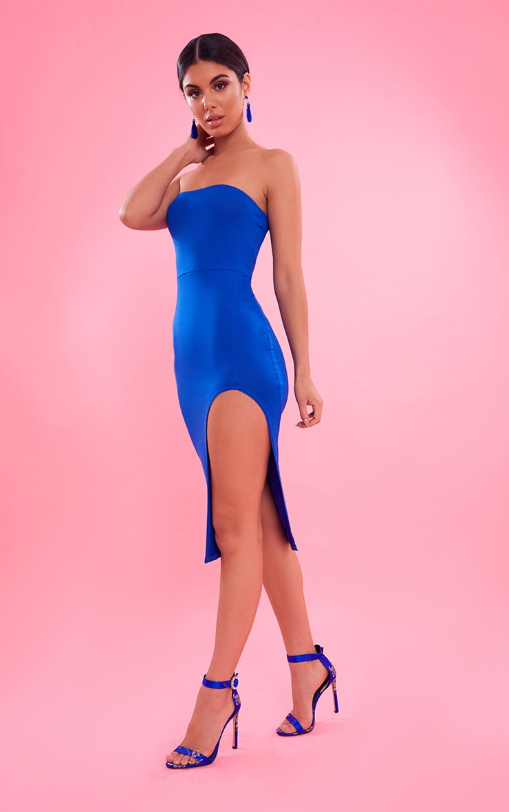 Cobalt Bandeau Split Front Midi Dress 5