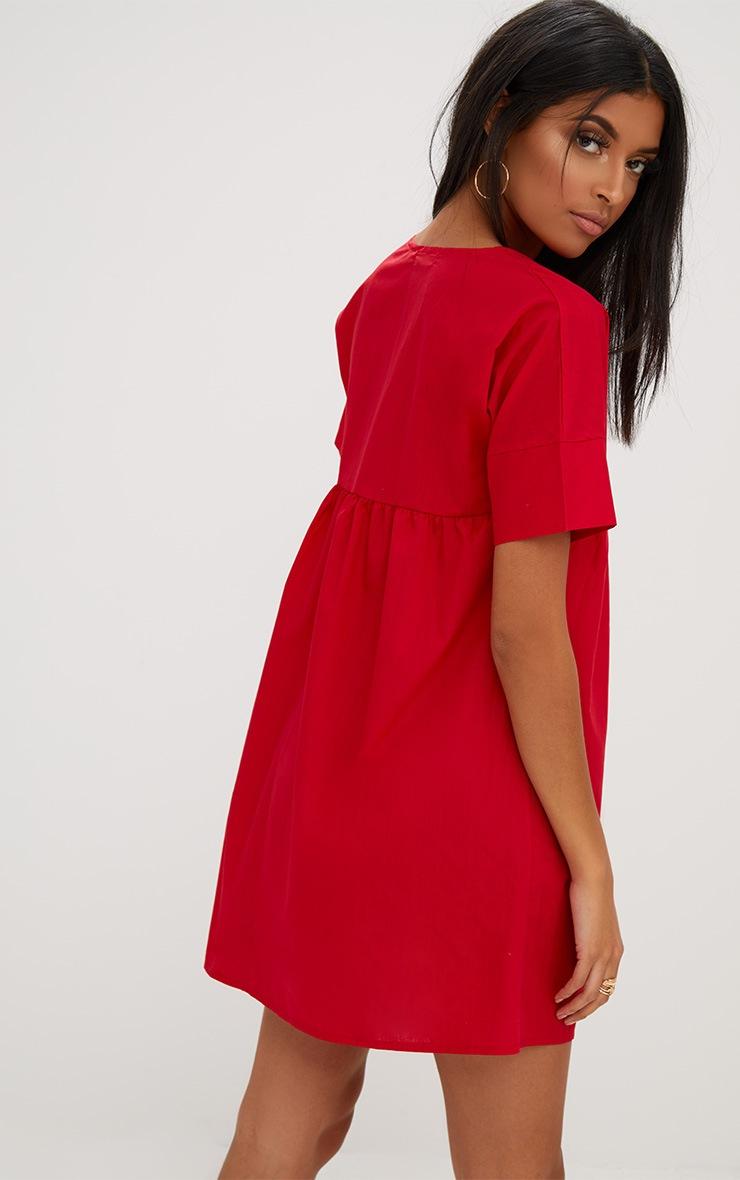 Red Poplin Smock Dress 2