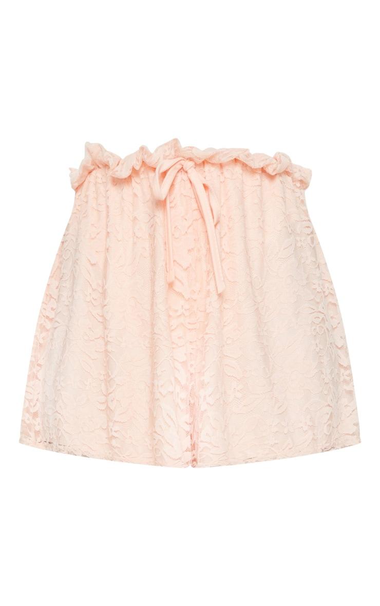 Rose Lace Paperbag Tie Waist Short 3