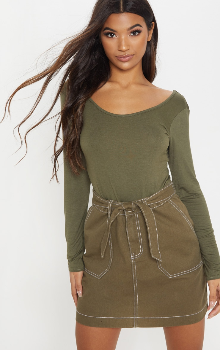 Basic Khaki Scoop Back Long Sleeve Bodysuit 2