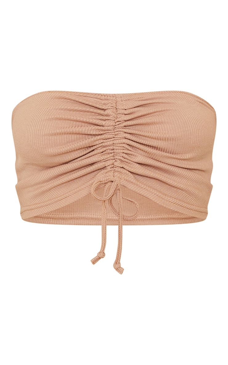 Stone Ribbed Ruched Tie Front Bandeau 5