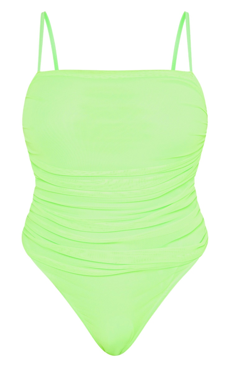Shape Neon Lime Mesh Ruched Thong Bodysuit 3