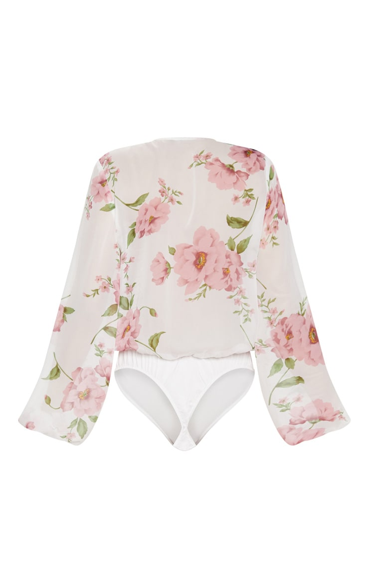 White Rose Print Long Sleeved Wrap Bodysuit 4